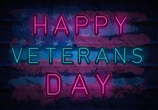 Veterans day neon royalty free illustration