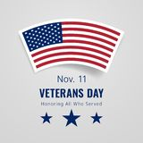 Veterans Day November 11 Congratulations Banner Royalty Free Stock Photo