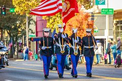 Veterans Day Parade 2018. Portland, Oregon, USA - November 12, 2018: The annual Ross Hollywood Chapel Veterans Day Parade, in northeast Portland stock photo