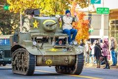 Veterans Day Parade 2018. Portland, Oregon, USA - November 12, 2018: The annual Ross Hollywood Chapel Veterans Day Parade, in northeast Portland royalty free stock photo
