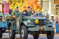 Veterans Day Parade 2018. Portland, Oregon, USA - November 12, 2018: The annual Ross Hollywood Chapel Veterans Day Parade, in northeast Portland stock photos