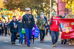 Veterans Day Parade 2018. Portland, Oregon, USA - November 12, 2018: The annual Ross Hollywood Chapel Veterans Day Parade, in northeast Portland royalty free stock image