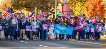 Veterans Day Parade 2018. Portland, Oregon, USA - November 12, 2018: The annual Ross Hollywood Chapel Veterans Day Parade, in northeast Portland stock photography