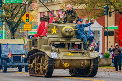 Veterans Day Parade 2016. Portland, Oregon, USA - November 11, 2016: The annual Ross Hollywood Chapel Veterans Day Parade, in northeast Portland Stock Image