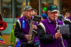 Veterans Day Parade 2017. Portland, Oregon, USA - November 11, 2017: The Beat Goes On Marching Band in the annual Ross Hollywood Chapel Veterans Day Parade, in royalty free stock photography