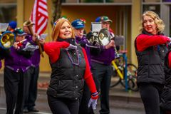 Veterans Day Parade 2017. Portland, Oregon, USA - November 11, 2017: The Beat Goes On Marching Band in the annual Ross Hollywood Chapel Veterans Day Parade, in royalty free stock photos