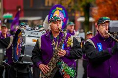 Veterans Day Parade 2017. Portland, Oregon, USA - November 11, 2017: The Beat Goes On Marching Band in the annual Ross Hollywood Chapel Veterans Day Parade, in stock image