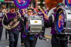 Veterans Day Parade 2017. Portland, Oregon, USA - November 11, 2017: The Beat Goes On Marching Band in the annual Ross Hollywood Chapel Veterans Day Parade, in royalty free stock photo