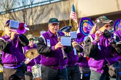Veterans Day Parade 2018. Portland, Oregon, USA - November 12, 2018: The Beat Goes On Marching Band in the annual Ross Hollywood Chapel Veterans Day Parade, in royalty free stock photos