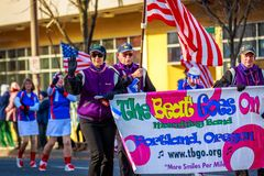 Veterans Day Parade 2018. Portland, Oregon, USA - November 12, 2018: The Beat Goes On Marching Band in the annual Ross Hollywood Chapel Veterans Day Parade, in stock photo