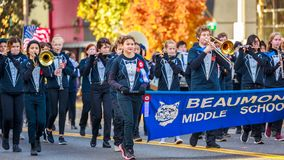 Veterans Day Parade 2018. Portland, Oregon, USA - November 12, 2018: Beaumont Middle School Marching Band in the annual Ross Hollywood Chapel Veterans Day Parade stock photos