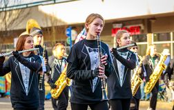 Veterans Day Parade 2018. Portland, Oregon, USA - November 12, 2018: Beaumont Middle School Marching Band in the annual Ross Hollywood Chapel Veterans Day Parade royalty free stock photo