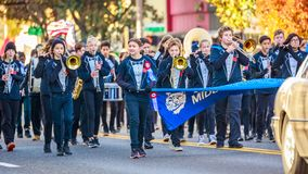 Veterans Day Parade 2018. Portland, Oregon, USA - November 12, 2018: Beaumont Middle School Marching Band in the annual Ross Hollywood Chapel Veterans Day Parade royalty free stock photos
