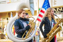 Veterans Day Parade 2018. Portland, Oregon, USA - November 12, 2018: Beaumont Middle School Marching Band in the annual Ross Hollywood Chapel Veterans Day Parade stock photo