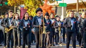 Veterans Day Parade 2018. Portland, Oregon, USA - November 12, 2018: Beaumont Middle School Marching Band in the annual Ross Hollywood Chapel Veterans Day Parade stock images