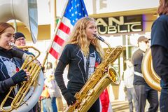 Veterans Day Parade 2018. Portland, Oregon, USA - November 12, 2018: Beaumont Middle School Marching Band in the annual Ross Hollywood Chapel Veterans Day Parade royalty free stock image