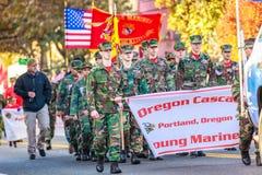 Veterans Day Parade 2018. Portland, Oregon, USA - November 12, 2018: Oregon Cascade Young Marines in the annual Ross Hollywood Chapel Veterans Day Parade, in royalty free stock photos