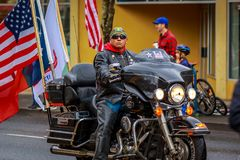 Veterans Day Parade 2017. Portland, Oregon, USA - November 11, 2017:  Combat Veteran Motorcycle Association in the annual Ross Hollywood Chapel Veterans Day Stock Photography