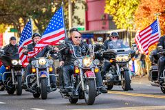Veterans Day Parade 2018. Portland, Oregon, USA - November 12, 2018: Combat Veteran Motorcycle Association in the annual Ross Hollywood Chapel Veterans Day royalty free stock photography
