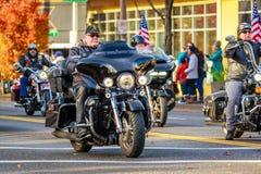 Veterans Day Parade 2018. Portland, Oregon, USA - November 12, 2018: Combat Veteran Motorcycle Association in the annual Ross Hollywood Chapel Veterans Day stock photos