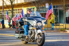 Veterans Day Parade 2018. Portland, Oregon, USA - November 12, 2018: Combat Veteran Motorcycle Association in the annual Ross Hollywood Chapel Veterans Day stock photography