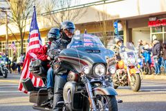 Veterans Day Parade 2018. Portland, Oregon, USA - November 12, 2018: Combat Veteran Motorcycle Association in the annual Ross Hollywood Chapel Veterans Day royalty free stock images