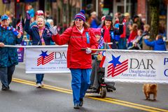 Veterans Day Parade 2017. Portland, Oregon, USA - November 11, 2017: Daughters of the American Revolution in the annual Ross Hollywood Chapel Veterans Day Parade stock photos