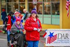 Veterans Day Parade 2017. Portland, Oregon, USA - November 11, 2017: Daughters of the American Revolution in the annual Ross Hollywood Chapel Veterans Day Parade royalty free stock image