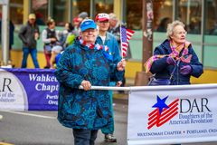 Veterans Day Parade 2017. Portland, Oregon, USA - November 11, 2017: Daughters of the American Revolution in the annual Ross Hollywood Chapel Veterans Day Parade royalty free stock photo