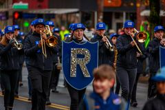 Veterans Day Parade 2017. Portland, Oregon, USA - November 11, 2017: Grant High School Marching Band in the annual Ross Hollywood Chapel Veterans Day Parade, in royalty free stock photography