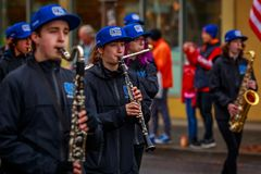 Veterans Day Parade 2017. Portland, Oregon, USA - November 11, 2017: Grant High School Marching Band in the annual Ross Hollywood Chapel Veterans Day Parade, in royalty free stock image