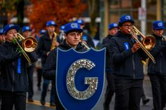 Veterans Day Parade 2017. Portland, Oregon, USA - November 11, 2017: Grant High School Marching Band in the annual Ross Hollywood Chapel Veterans Day Parade, in stock images