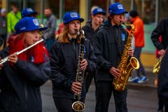 Veterans Day Parade 2017. Portland, Oregon, USA - November 11, 2017: Grant High School Marching Band in the annual Ross Hollywood Chapel Veterans Day Parade, in stock photos