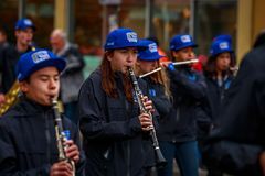 Veterans Day Parade 2017. Portland, Oregon, USA - November 11, 2017: Grant High School Marching Band in the annual Ross Hollywood Chapel Veterans Day Parade, in stock photo