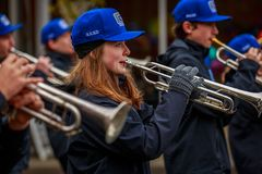 Veterans Day Parade 2017. Portland, Oregon, USA - November 11, 2017: Grant High School Marching Band in the annual Ross Hollywood Chapel Veterans Day Parade, in stock image