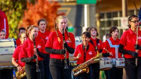 Veterans Day Parade 2018. Portland, Oregon, USA - November 12, 2018: Jackson Jaguar Marching Band in the annual Ross Hollywood Chapel Veterans Day Parade, in royalty free stock images
