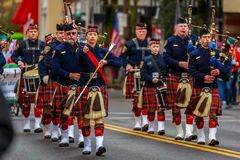 Veterans Day Parade 2017. Portland, Oregon, USA - November 11, 2017: Portland Police Highland Guard Pipe Band in the annual Ross Hollywood Chapel Veterans Day stock photography