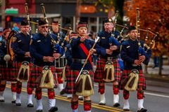 Veterans Day Parade 2017. Portland, Oregon, USA - November 11, 2017: Portland Police Highland Guard Pipe Band in the annual Ross Hollywood Chapel Veterans Day stock images