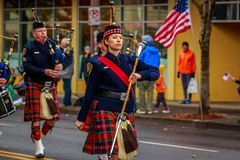 Veterans Day Parade 2017. Portland, Oregon, USA - November 11, 2017: Portland Police Highland Guard Pipe Band in the annual Ross Hollywood Chapel Veterans Day stock image