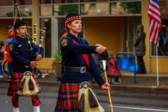 Veterans Day Parade 2017. Portland, Oregon, USA - November 11, 2017: Portland Police Highland Guard Pipe Band in the annual Ross Hollywood Chapel Veterans Day stock photo