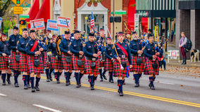 Veterans Day Parade 2016. Portland, Oregon, USA - November 11, 2016: Portland Police Highland Guard Pipe Band in the annual Ross Hollywood Chapel Veterans Day Royalty Free Stock Image