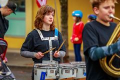 Veterans Day Parade 2017. Portland, Oregon, USA - November 11, 2017: Robert Gray Middle School Marching Band in the annual Ross Hollywood Chapel Veterans Day stock images