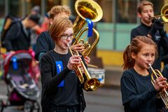 Veterans Day Parade 2017. Portland, Oregon, USA - November 11, 2017: Robert Gray Middle School Marching Band in the annual Ross Hollywood Chapel Veterans Day royalty free stock images