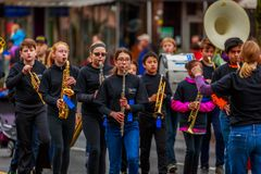 Veterans Day Parade 2017. Portland, Oregon, USA - November 11, 2017: Robert Gray Middle School Marching Band in the annual Ross Hollywood Chapel Veterans Day royalty free stock image