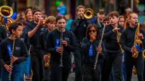 Veterans Day Parade 2017. Portland, Oregon, USA - November 11, 2017: Robert Gray Middle School Marching Band in the annual Ross Hollywood Chapel Veterans Day stock photo