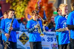 Veterans Day Parade 2018. Portland, Oregon, USA - November 12, 2018: Robert Gray Middle School Marching Band in the annual Ross Hollywood Chapel Veterans Day stock image