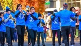 Veterans Day Parade 2018. Portland, Oregon, USA - November 12, 2018: Robert Gray Middle School Marching Band in the annual Ross Hollywood Chapel Veterans Day royalty free stock photography