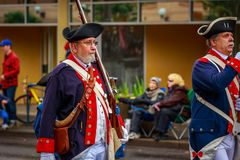Veterans Day Parade 2017. Portland, Oregon, USA - November 11, 2017: Sons of the American Revolution in the annual Ross Hollywood Chapel Veterans Day Parade, in stock photography