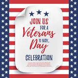 Veterans Day party celebration invitation poster. Stock Photo