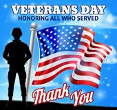 Veterans Day Patriotic Soldier American Flag. A patriotic soldier with an American flag Veterans Day Honoring All who Served, Thank You background design graphic Royalty Free Stock Image